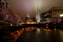 The Gene Leahy Mall in Omaha, NE looking west at the skyline during the holiday season.
