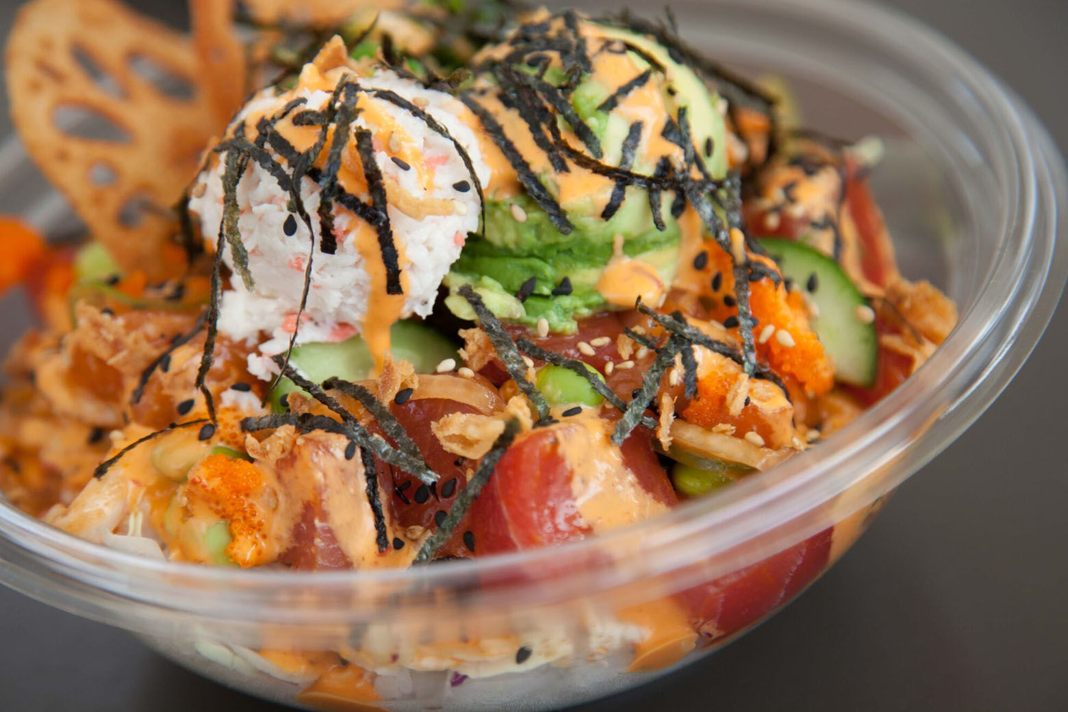 Poke bowls comes with different combinations of mix-ins, toppings, sauces and proteins. (Courtesy Pokebowl)