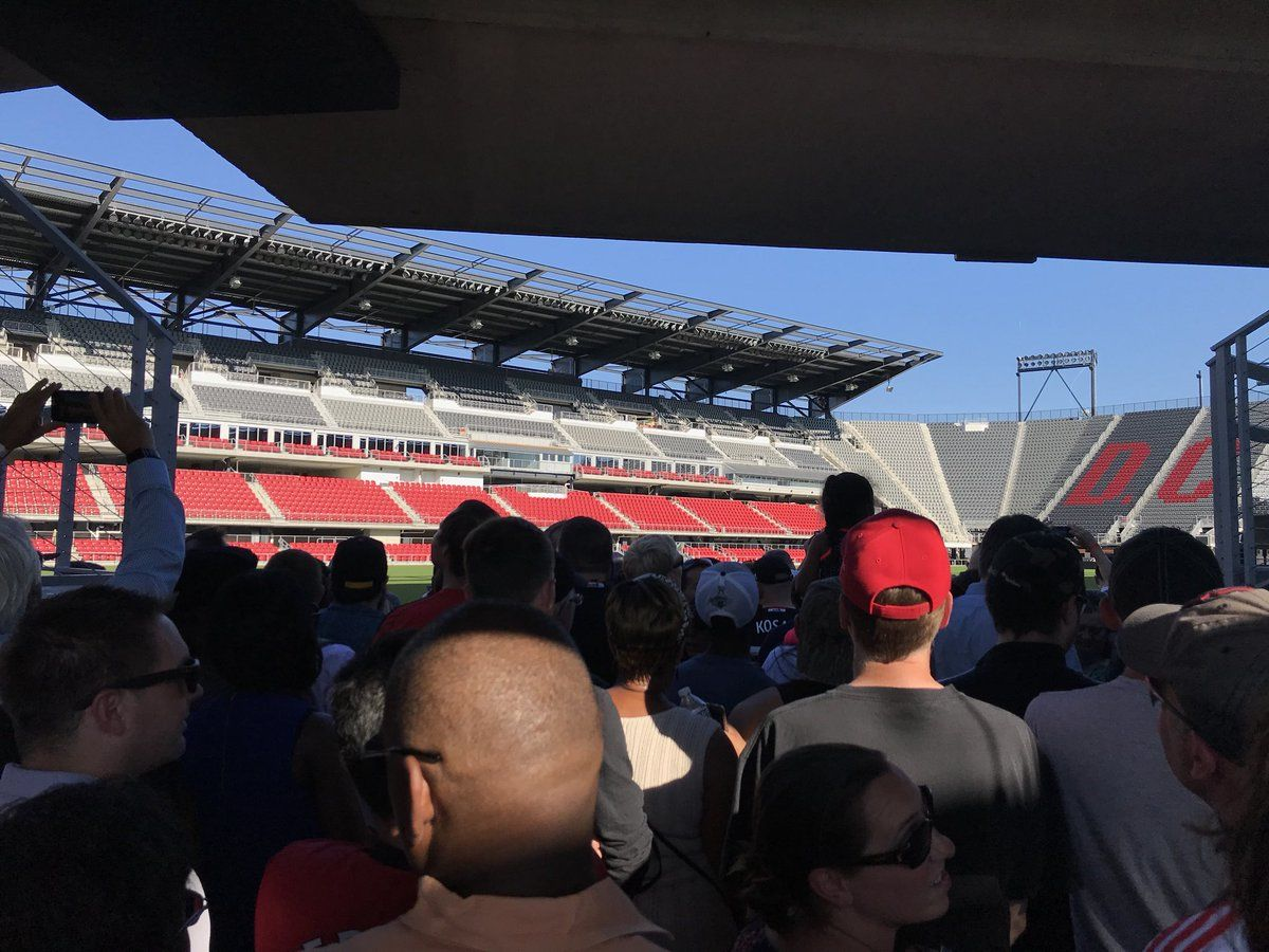 Media and fans were able to enter to get one view of the playing surface at Audi Field Monday. The stadium opens Saturday for its inaugural game. (WTOP/Michelle Basch)