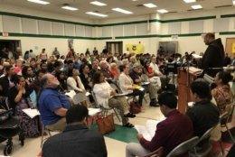 The meeting, held at JoAnn Leleck Elementary School at Broad Acres in Silver Spring, Maryland, was packed. (WTOP/Michelle Basch)