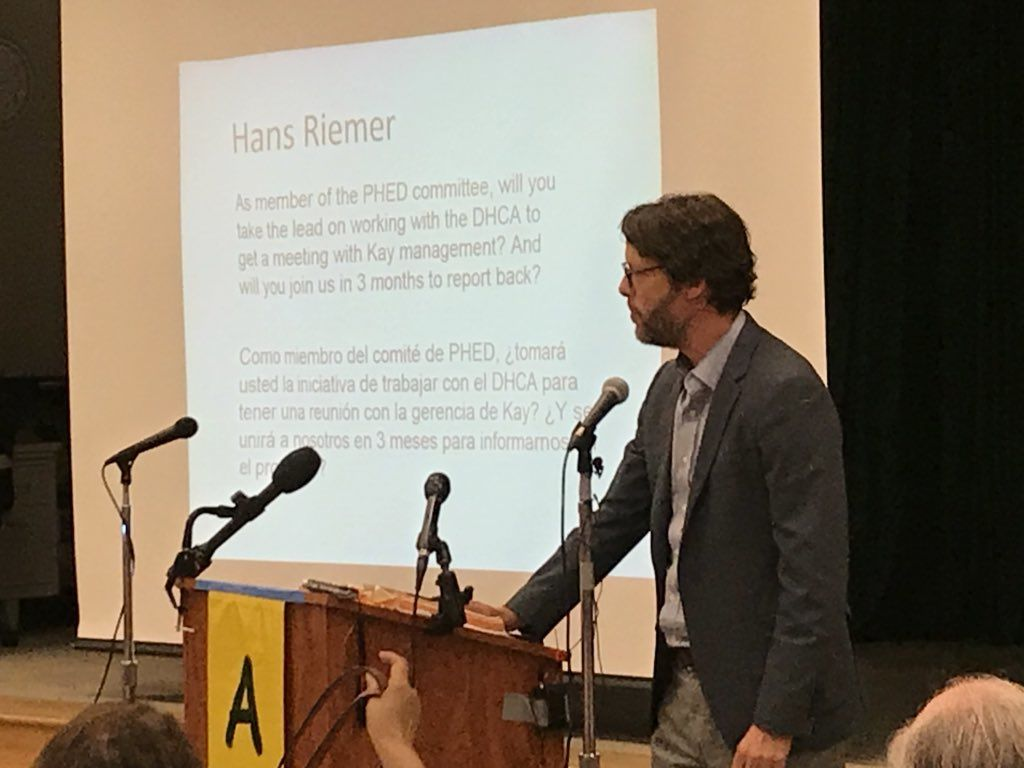 "Council member Hans Riemer said he supports all 3 of the survivors' requests. ""Thank you for helping us understand that we have more work to do ... Your county government wants to help,"" he said. (WTOP/Michelle Basch)"