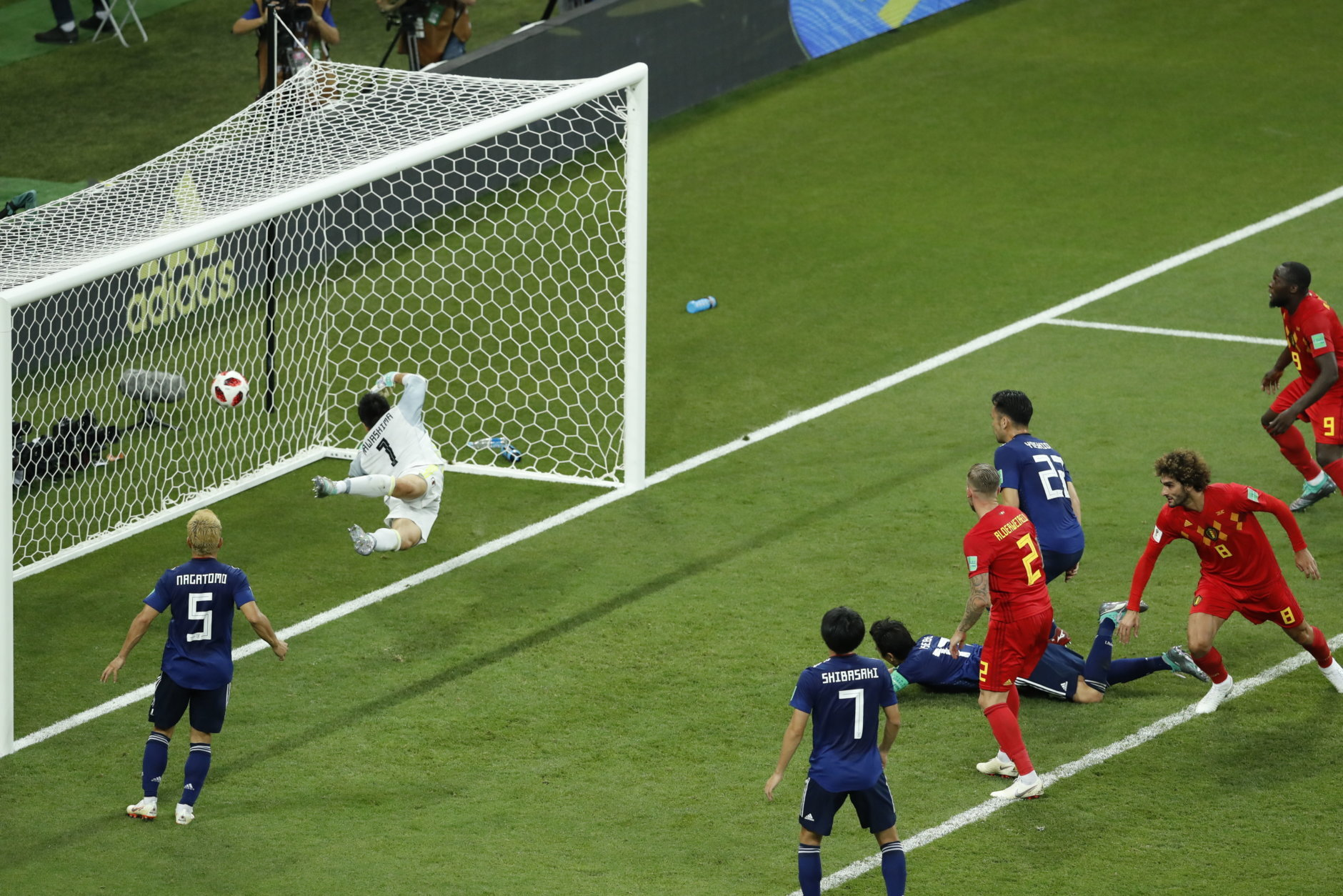 Belgium's Marouane Fellaini, second from right, scores his second side goal during the round of 16 match between Belgium and Japan at the 2018 soccer World Cup in the Rostov Arena, in Rostov-on-Don, Russia, Monday, July 2, 2018. (AP Photo/Hassan Ammar)