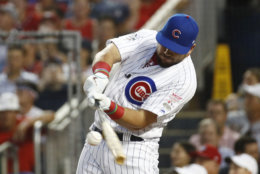 Chicago Cubs Kyle Schwarber (12) hits during the MLB Home Run Derby, at Nationals Park, Monday, July 16, 2018 in Washington. The 89th MLB baseball All-Star Game will be played Tuesday.(AP Photo/Patrick Semansky)