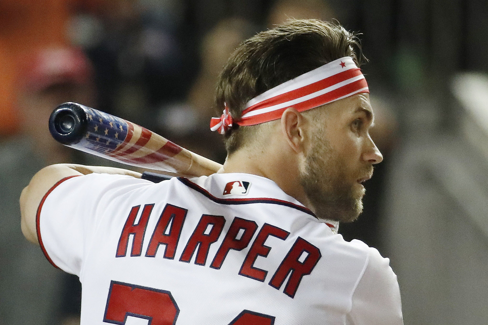 Washington Nationals Bryce Harper (34) waits for his pitch during the MLB Home Run Derby, at Nationals Park, Monday, July 16, 2018 in Washington. The 89th MLB baseball All-Star Game will be played Tuesday. (AP Photo/Alex Brandon)