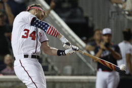 Washington Nationals Bryce Harper hits during the MLB Home Run Derby, at Nationals Park, Monday, July 16, 2018 in Washington. The 89th MLB baseball All-Star Game will be played Tuesday. (AP Photo/Alex Brandon)