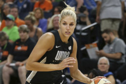 Delle Donne, captain of her team, controls the ball in the first half of the WNBA All-Star basketball game against Team Candace Parker, Saturday, July 28, 2018 in Minneapolis. Candace Parker's team won 119-112. (AP Photo/Stacy Bengs)