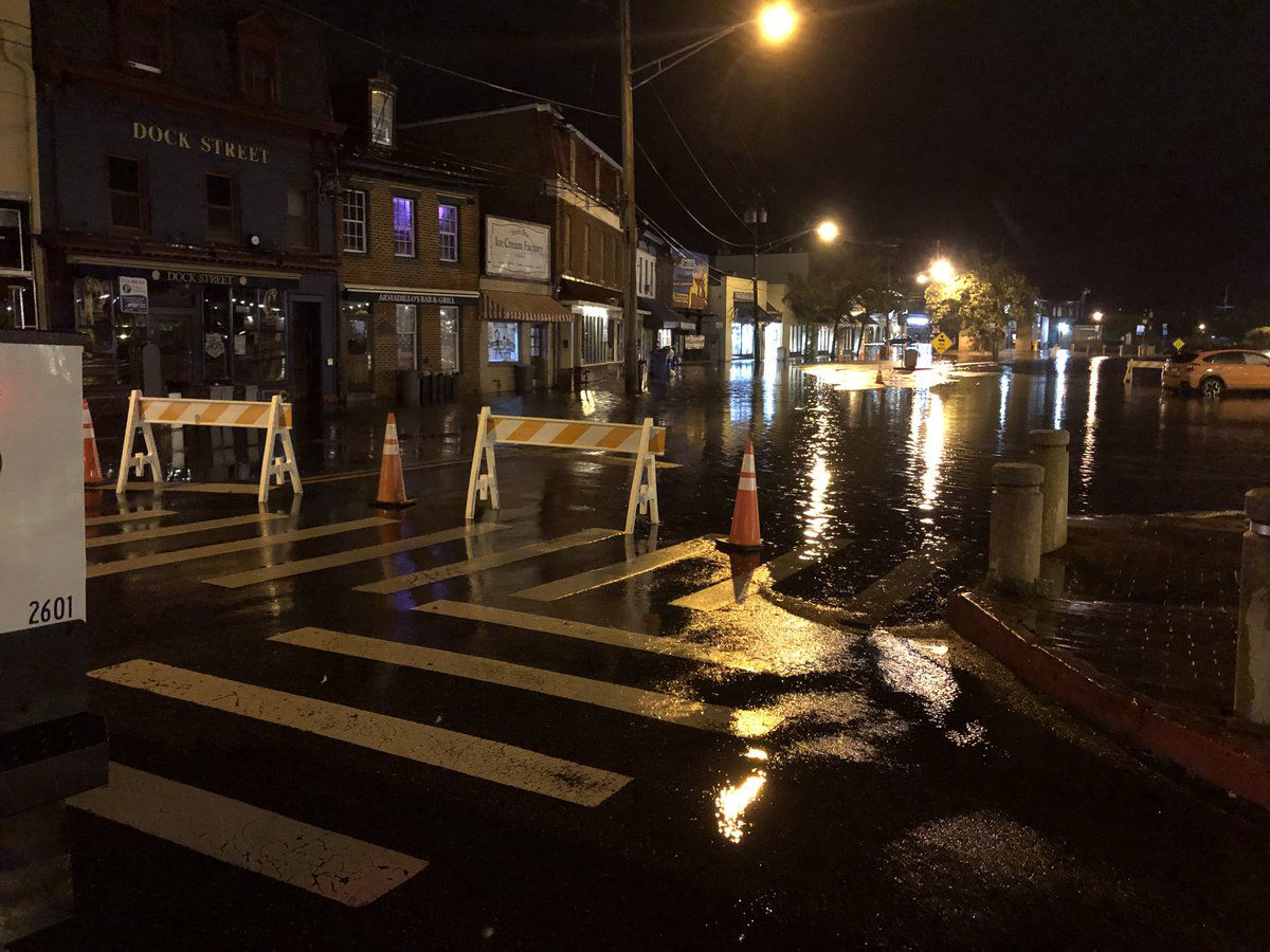 In Annapolis, flooding has led to Dock Street being closed and Compromise Street reduced to one lane. (Courtesy Annapolis Office of Emergency Management via Twitter)