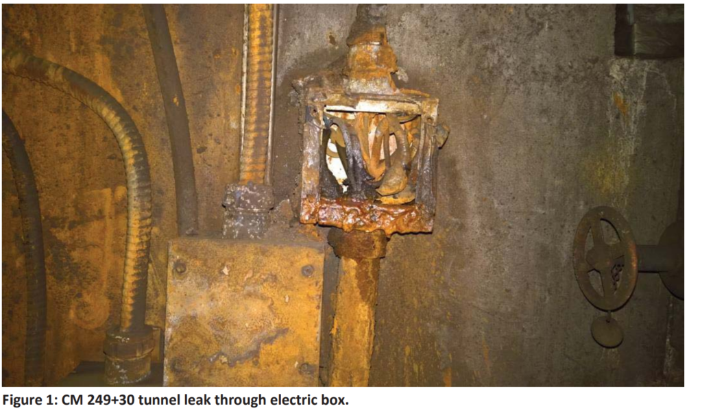 On the Green Line between Southern Ave and Waterfront, a tunnel leak over catwalk with mud and water running through open electrical box creating electrical hazard. (Courtesy FTA)