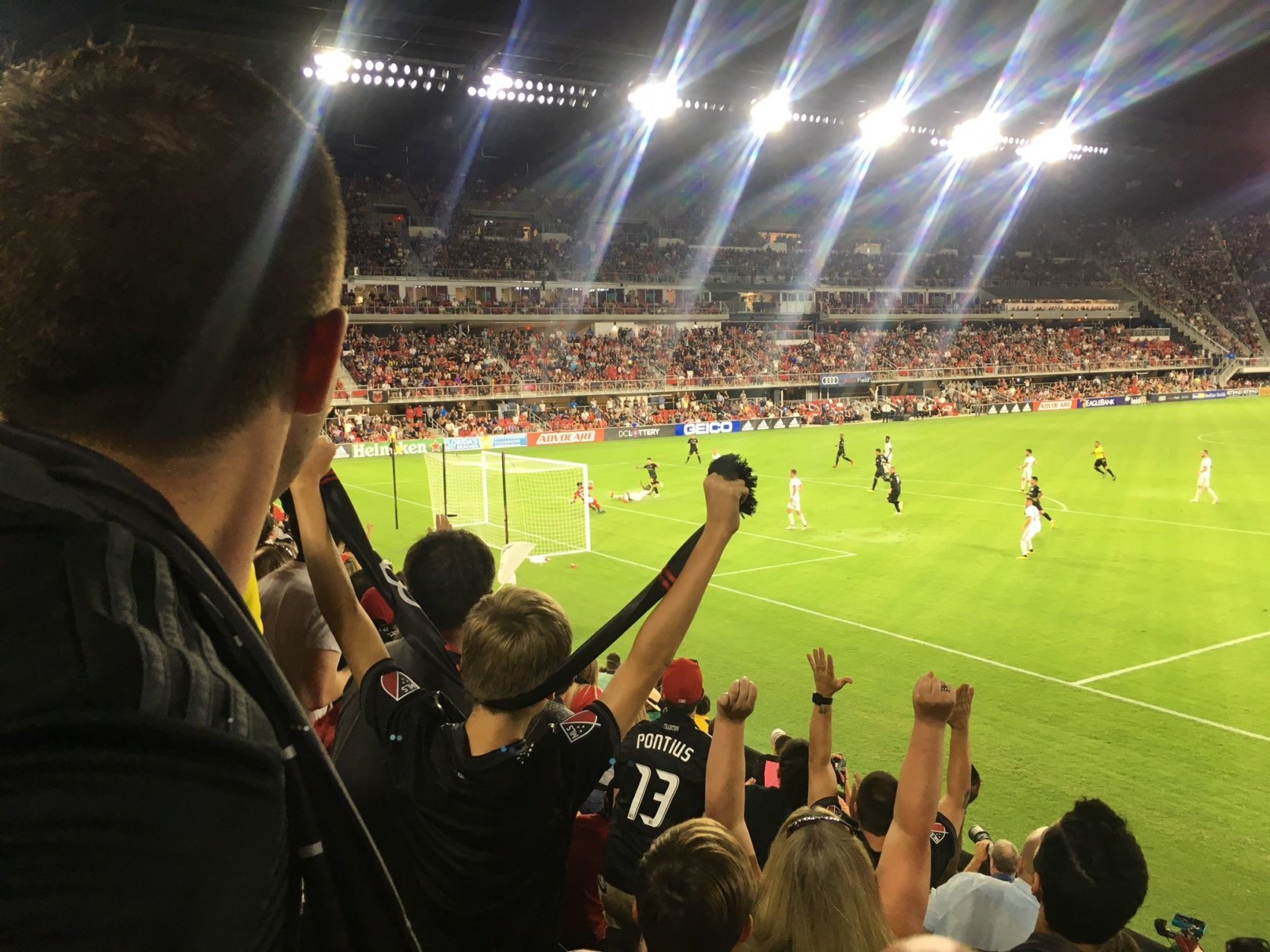 Paul Arriola scores the first of his two goals on the night, to put D.C. United ahead 2-0. (WTOP/Noah Frank)