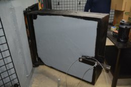 The door to Bailey's bunker, where officials found the illegal guns. (Photo courtesy of U.S. Attorney's Office)