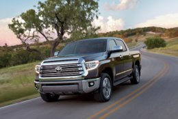 This photo provided by Toyota shows the 2018 Toyota Tundra. The Tundra can be had with one of two V8 engines. (Courtesy of Toyota Motor Sales U.S.A. via AP)