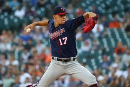 DETROIT, MI - JUNE 13: Jose Berrios #17 of the Minnesota Twins throws a first inning pitch while playing the Detroit Tigers at Comerica Park on June 13, 2018 in Detroit, Michigan.  (Photo by Gregory Shamus/Getty Images)