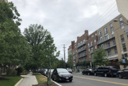 A very slight drizzle started falling in Northwest D.C. a little after 11:30 a.m. on Sunday. Showers and storms are expected to hit the D.C. area Sunday afternoon. (WTOP/Patrick Roth)