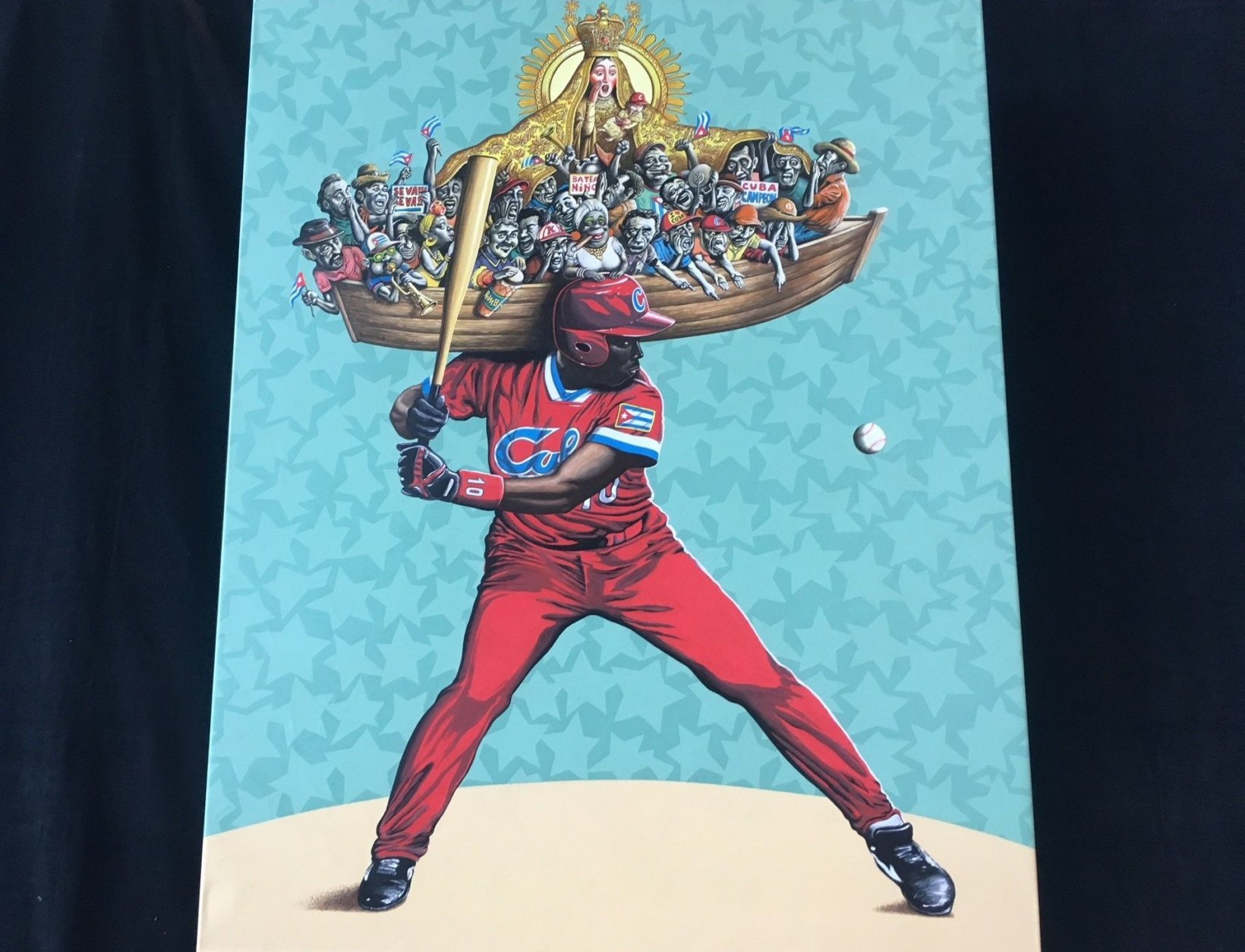 """The """"Cuban Slugger"""" exhibit from artist Reynario Tamayo is on display at Arena Stage through Sunday, July 29. (WTOP/Noah Frank)"""