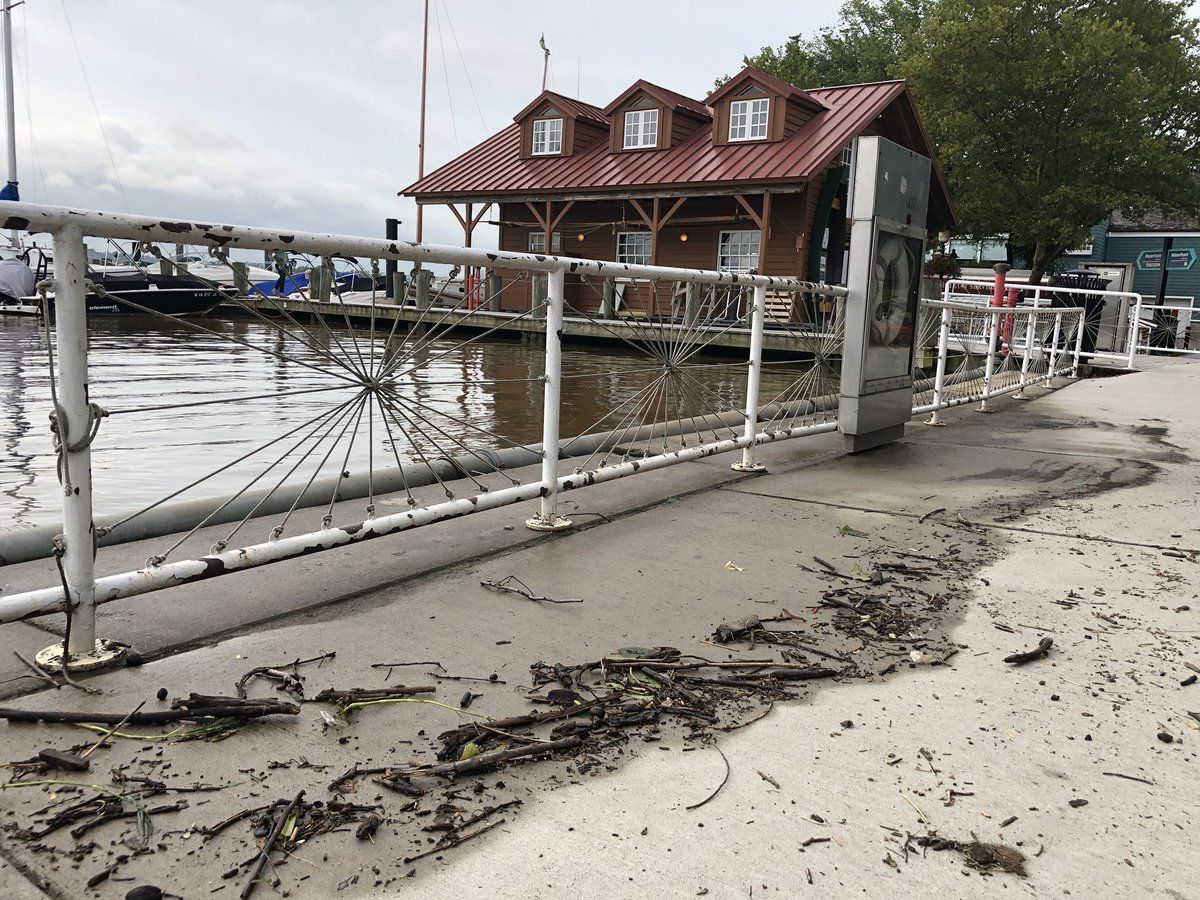 The remnants of a high tide in Alexandria, Virginia, along the pier.