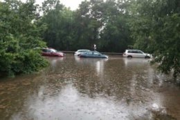 Arlington Fire Department crews helped rescue 40 people from their flooded vehicles on the George Washington Parkway Tuesday afternoon. (Courtesy Arlington County Fire Department)