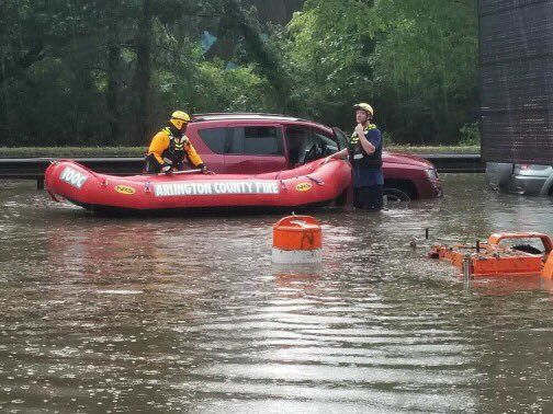 Arlington County Fire Department crews used boats to reach and rescue motorists stranded on the George Washington Parkway Tuesday afternoon. (Courtesy Arlington County Fire Department)