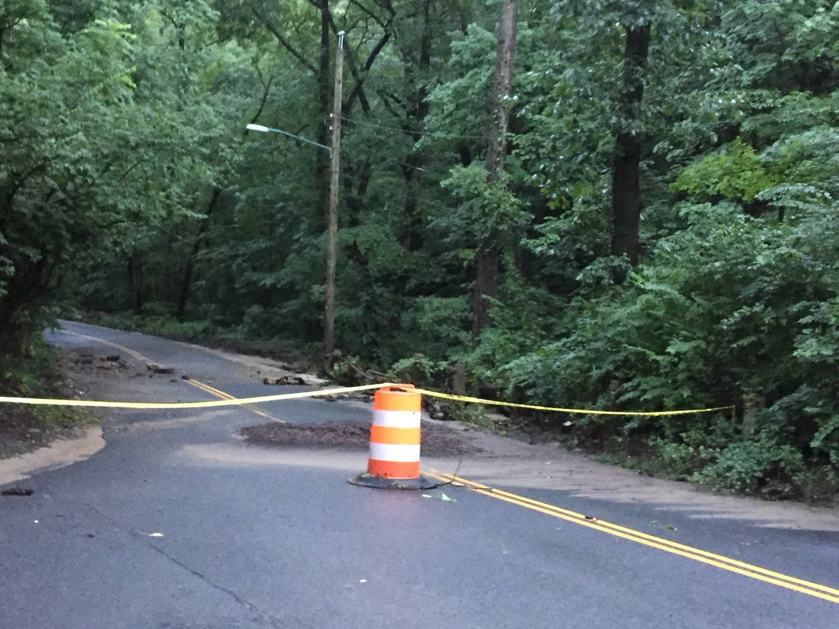 While there's only a slight chance for rainfall in the area for Thursdsay, soggy ground can make make way for even more road closures as trees may topple over. (WTOP/John Domen)