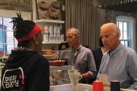 Barack Obama, Joe Biden stop by Dog Tag Bakery in Georgetown