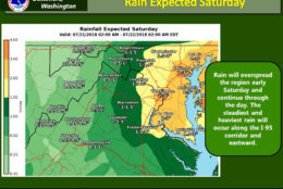 The expected rainfall totals for Saturday, July 21. The National Weather Service has issued a flash flood watch that will be in effect beginning at 11 a.m. (Courtesy National Weather Service)