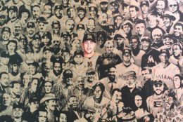 This depiction of late pitcher Jose Fernandez is actually the second version of the work -- the artist gave the original to Fernandez's mother. (WTOP/Noah Frank)