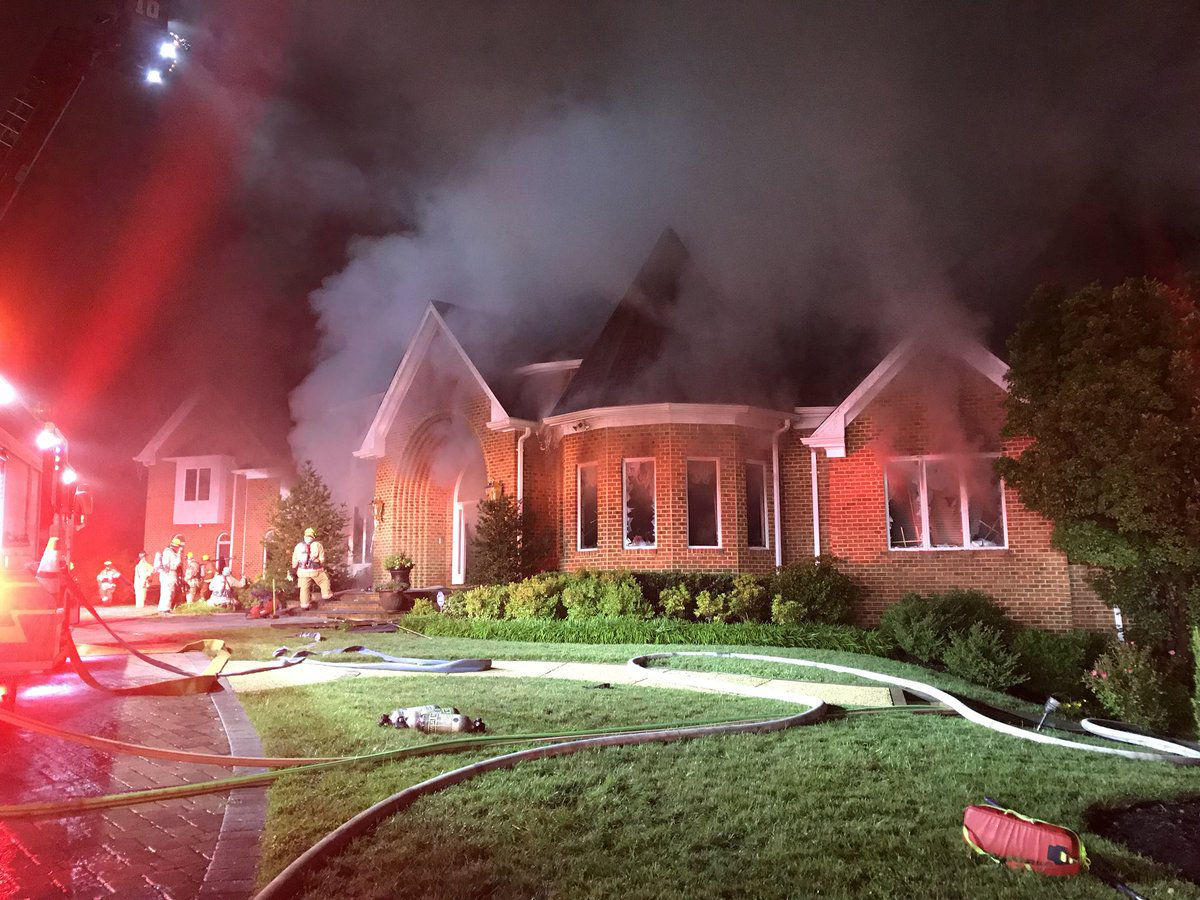 """Howard County Fire and EMS said that at 4 a.m. crews were still fighting the fire from outside the house in what the department called a """"defensive strategy."""" (Courtesy Howard County Fire and EMS via Twitter)"""