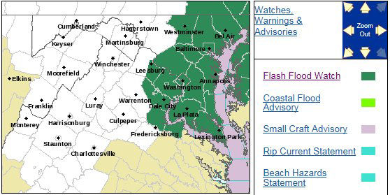The National Weather Service has issued a flash flood watch in effect for the D.C. area starting at 11 a.m. on Saturday through later Saturday night. Expect as much as two to four inches of rain. (Courtesy National Weather Service)