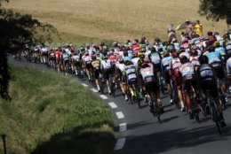 The pack rides during the sixteenth stage of the Tour de France cycling race over 218 kilometers (135.5 miles) with start in Carcassonne and finish in Bagneres-de-Luchon, France,Tuesday, July 24, 2018. (AP Photo/Peter Dejong)