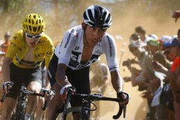 In this July 19, 2018, image Colombia's Egan Arley Bernal Gomez, right, pulls Britain's Geraint Thomas, wearing the overall leader's yellow jersey, up the Alpe d'Huez during the twelfth stage of the Tour de France cycling race over 175.5 kilometers (109 miles) with start in Bourg-Saint-Maurice Les Arcs and Alpe d'Huez, France. Bernal, the youngest rider at the Tour de France, is showing all the signs of becoming cycling's next big star. Already having scaled two major climbs, with crazed fans pressing close and rivals right behind, Colombia's Egan Bernal gave that extra effort to keep pulling Chris Froome and Geraint Thomas up the zigzagging ascent of Alpe d'Huez. (AP Photo/Peter Dejong)