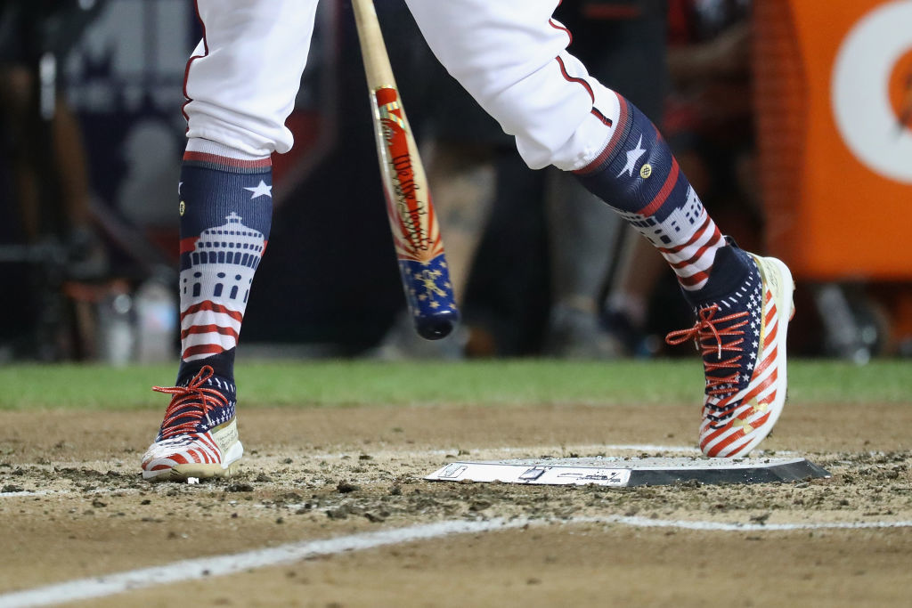 WASHINGTON, DC - JULY 16:  Bryce Harper of the Washington Nationals and National League competes in the first round during the T-Mobile Home Run Derby at Nationals Park on July 16, 2018 in Washington, DC.  (Photo by Rob Carr/Getty Images)