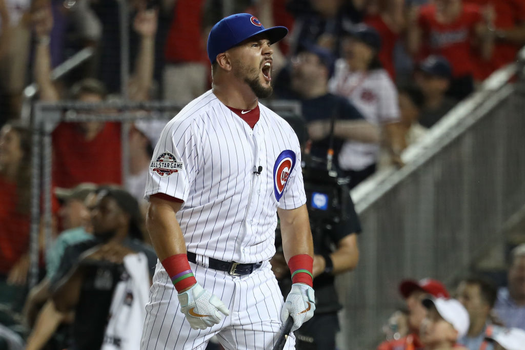 WASHINGTON, DC - JULY 16:  Kyle Schwarber of the Chicago Cubs and National League celebrates in the semifinals during the T-Mobile Home Run Derby at Nationals Park on July 16, 2018 in Washington, DC.  (Photo by Rob Carr/Getty Images)