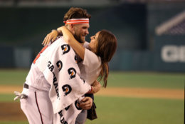 WASHINGTON, DC - JULY 16:  Bryce Harper of the Washington Nationals and National League celebrates with wife Kayla Varner after winning the T-Mobile Home Run Derby at Nationals Park on July 16, 2018 in Washington, DC.  Harper defeated Kyle Schwarber of the Chicago Cubs and National League 19-18.  (Photo by Patrick Smith/Getty Images)
