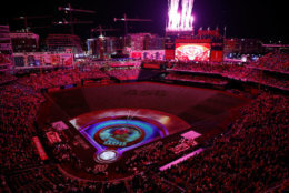 WASHINGTON, DC - JULY 16:  A general view as images are projected on the field during the T-Mobile Home Run Derby at Nationals Park on July 16, 2018 in Washington, DC.  (Photo by Patrick McDermott/Getty Images)