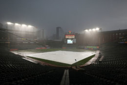 BALTIMORE, MD - JULY 27: Rain falls and the infield is covered prior to the Tampa Bay Rays playing the Baltimore Orioles at Oriole Park at Camden Yards on July 27, 2018 in Baltimore, Maryland. (Photo by Patrick Smith/Getty Images)