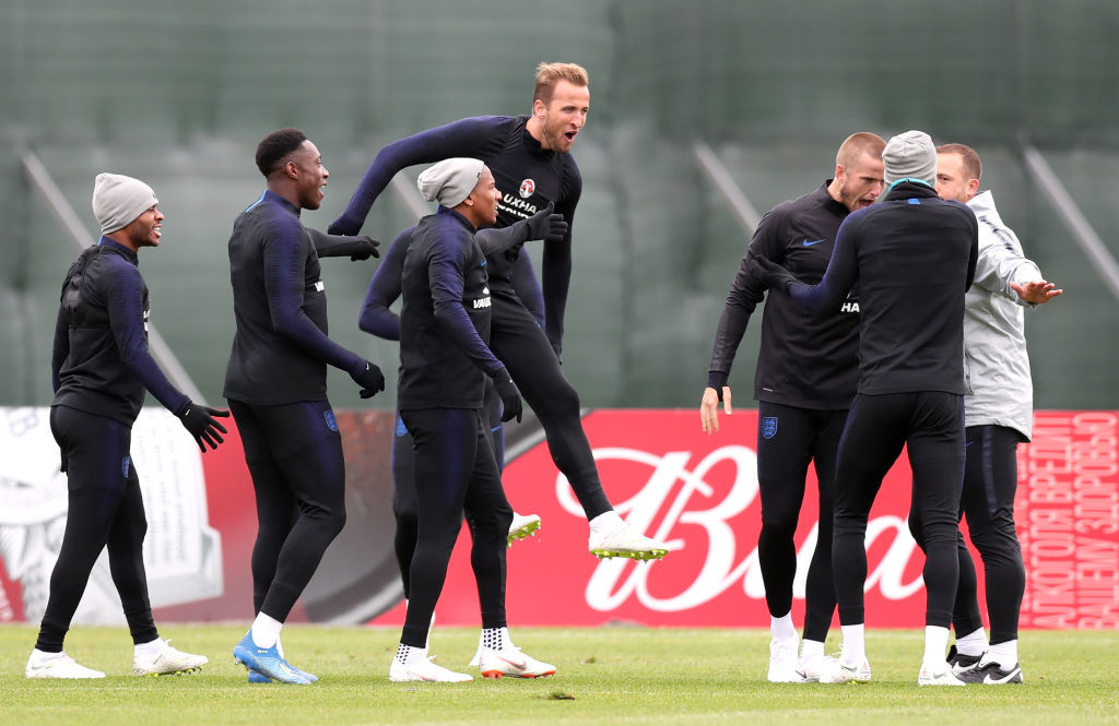 SAINT PETERSBURG, RUSSIA - JULY 02:  Harry Kane of England, Raheem Sterling of England, Ashley Young of England , Danny Welbeck of England and Eric Dier of England react during the England training session at the Stadium Spartak Zelenogorsk on July 2, 2018 in Saint Petersburg, Russia.  (Photo by Alex Morton/Getty Images)