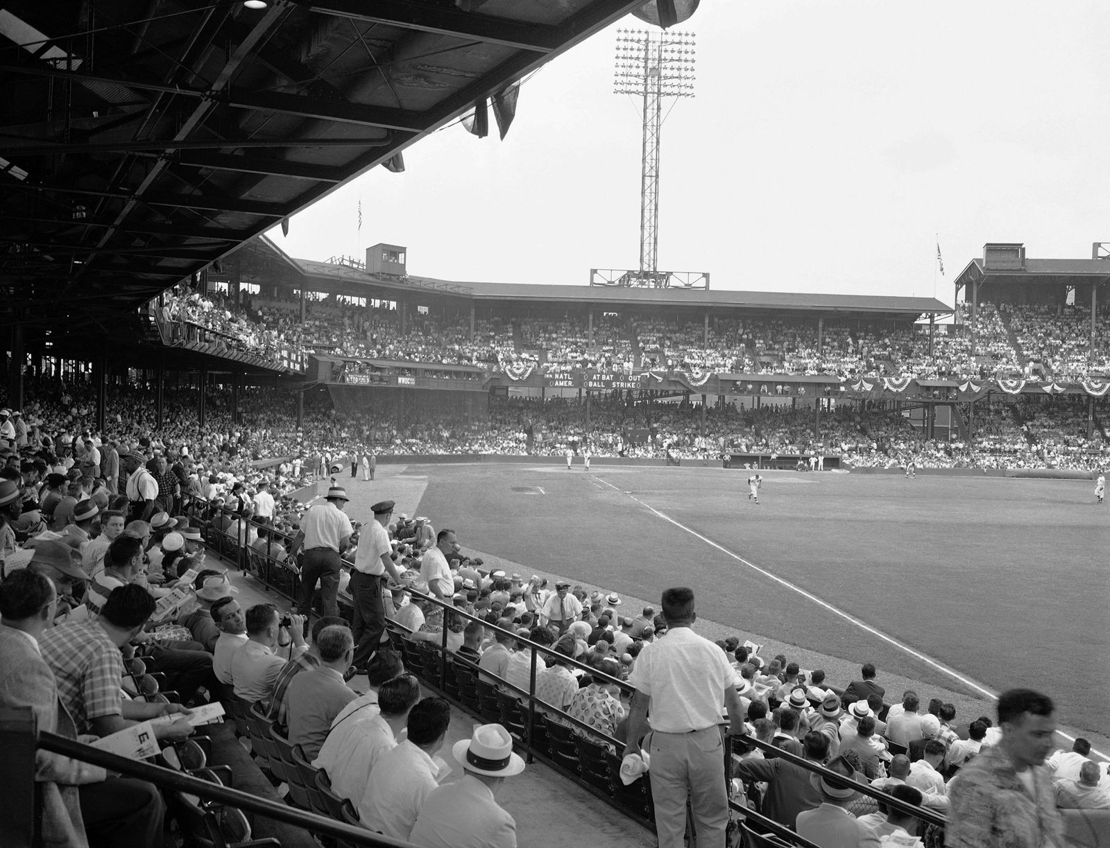 Griffith Stadium is packed with fans on hand for the 23rd All-Star major league baseball game in Washington, July 10, 1956. This view is from the right field corner of the lower deck shortly before game time. (AP Photo)