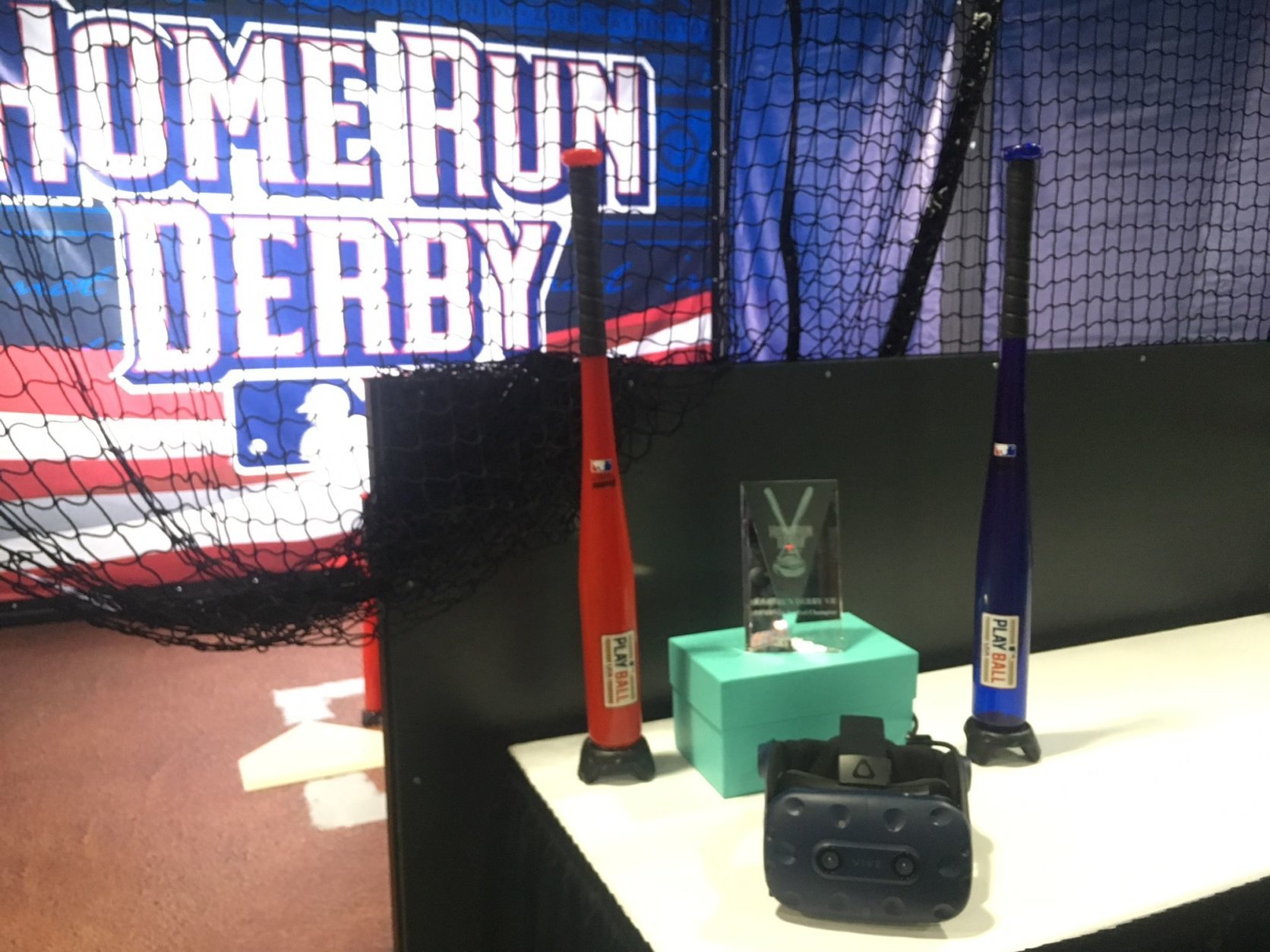 The virtual reality Home Run Derby VR experience offers fans a chance to not only get in on the action, but possibly win tickets to the game. (WTOP/Noah Frank)