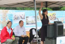 County Board Chair Katie Cristol speaks at the Long Bridge Park aquatics center groundbreaking. (ARLNow.com)