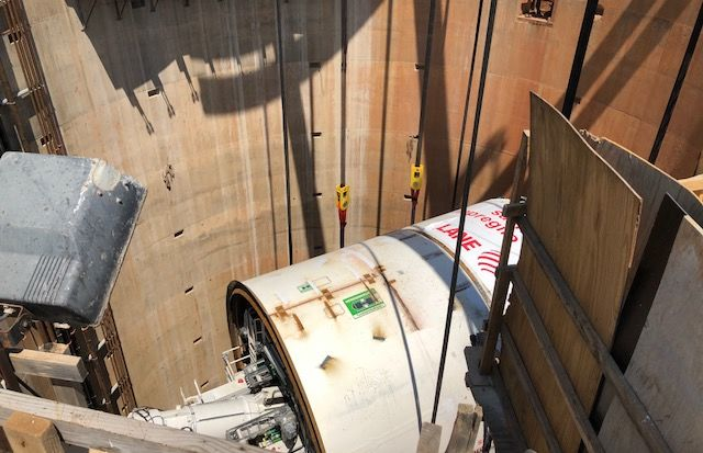 The 680-ton tunnel-boring machine will pull a sled longer than a football field full of equipment more than 5 miles underneath Northeast D.C. (WTOP/Dave Dildine)