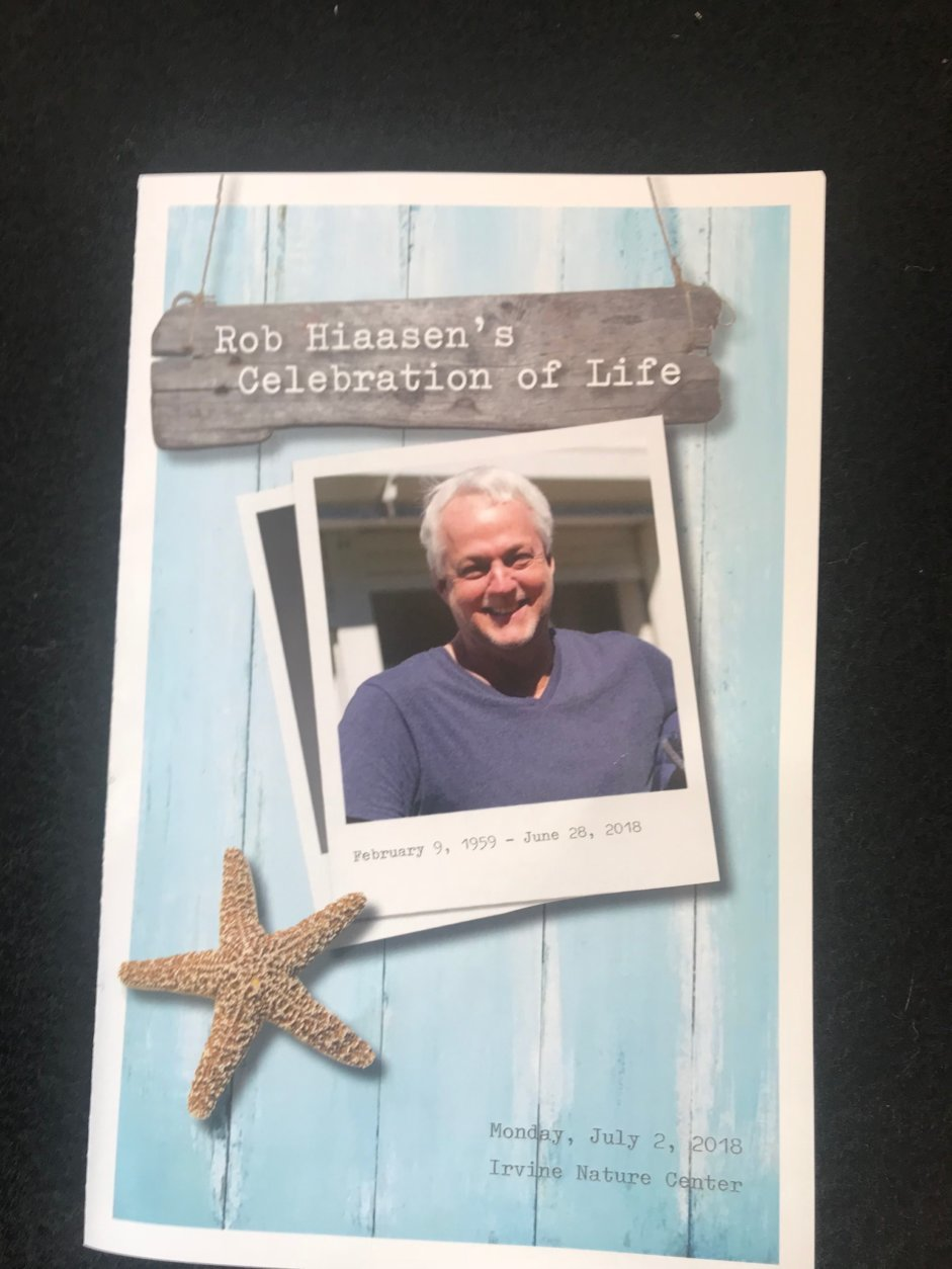 Hiaasen's older sister, Judy Hiaasen shared memories of Hiaasen as a boy, including some of his pranks like unlocking and reading her diary. (WTOP/Dick Uliano)