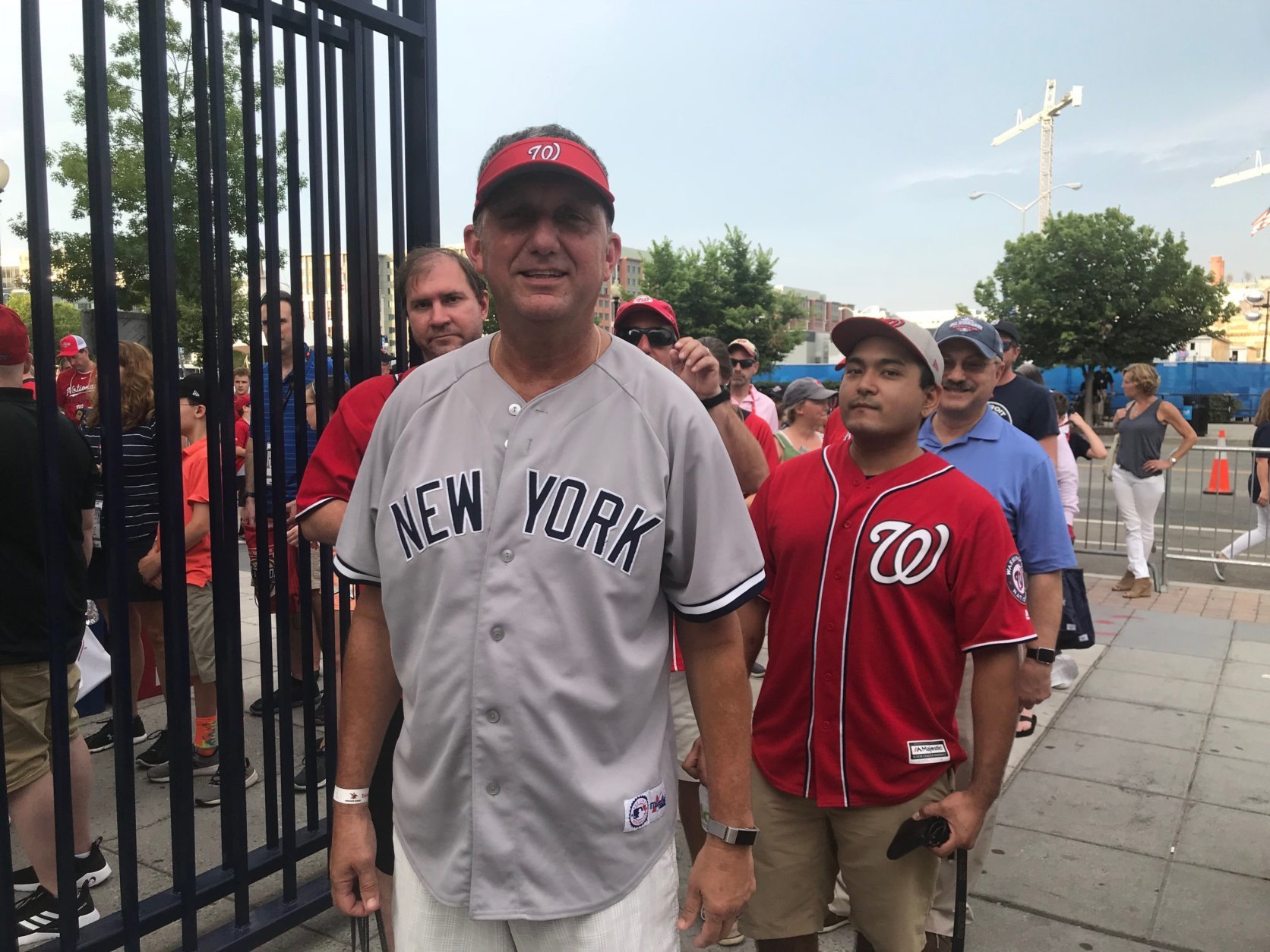 Fans line up to get into Nationals Park for the Home Run Derby on Monday, July 16, 2018 in Washington, D.C. (WTOP/Dick Uliano)