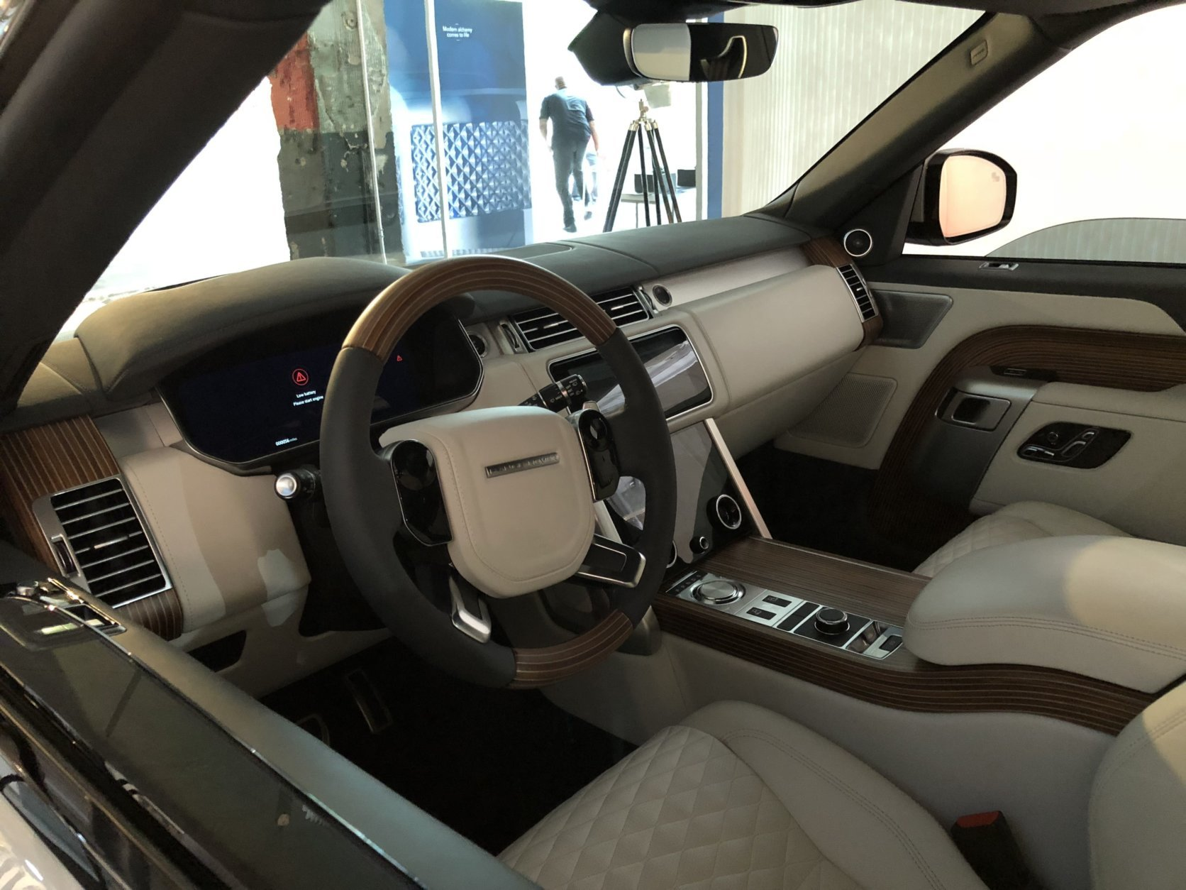 The interior of the Range Rover SV Coupe is very impressive and extremely luxurious, with a modern look but it has that coach-built feel with leather everywhere. (WTOP/Mike Parris)