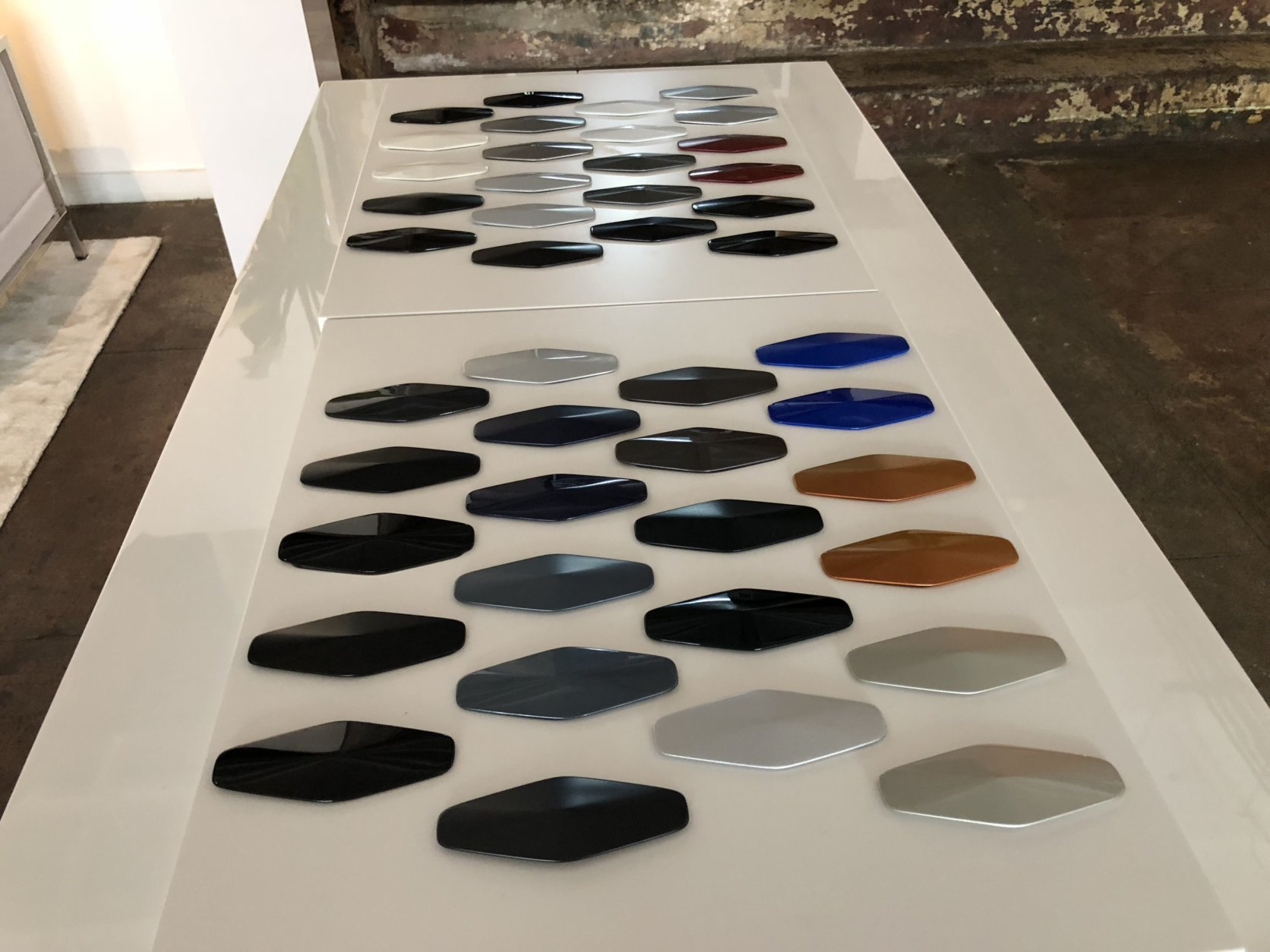 Some of the swatches of the many finishes to chose from. (WTOP/Mike Parris)