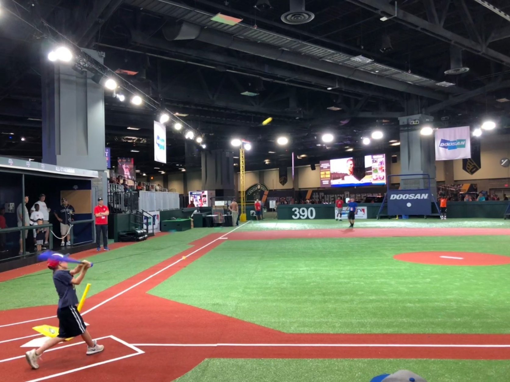 There are indoor baseball diamonds for kids, as well as batting cages and virtual reality baseball experiences. (WTOP/John Aaron)