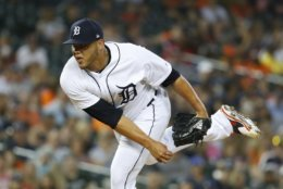 Detroit Tigers relief pitcher Joe Jimenez throws in the eighth inning of a baseball game against the Cleveland Indians in Detroit, Friday, June 8, 2018. (AP Photo/Paul Sancya)