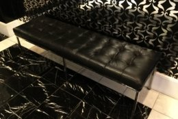 A leather bench from the W Hotel. (Courtesy Rasmus Auctions)