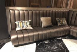 A leather sofa from the W Hotel. (Courtesy Rasmus Auctions)