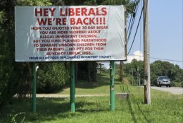 The sign is posted on a billboard along Maryland Route 4 at Bowie Shop Road in Huntingtown. (WTOP/Michelle Basch)