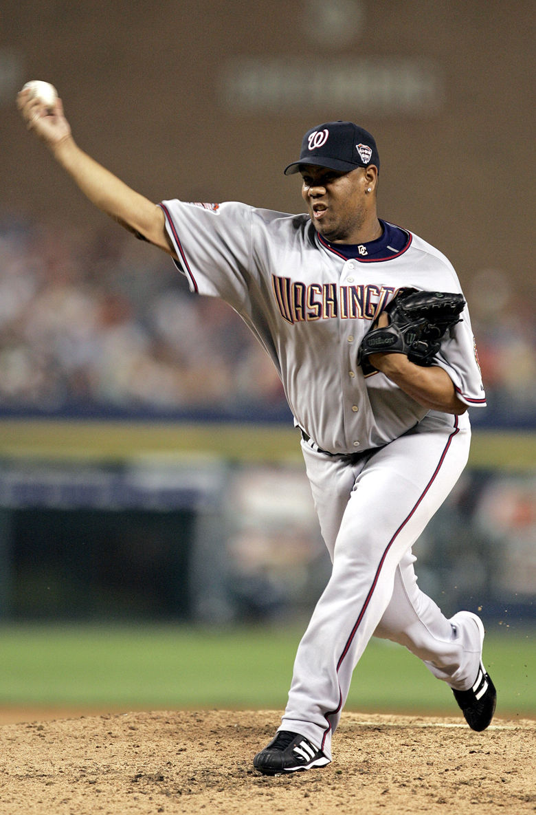National League All-Star pitcher Livan Hernandez of the Washington Nationals pitches during the fourth inning during the 2005 MLB All-Star Game at Comerica Park in Detroit, Tuesday, July 12, 2005.  (AP Photo/Al Behrman)