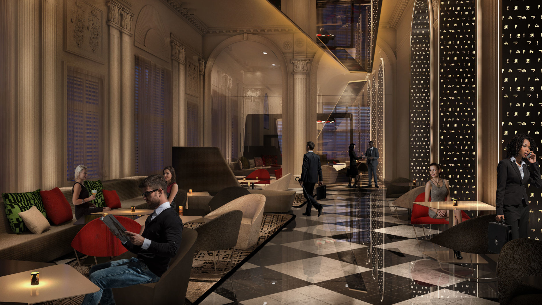 The redesigned lobby, called the Living Room at the W, will include what a Marriott statement describes as a seemingly endless mirror, honoring the Reflecting Pool of the Lincoln Memorial.   (Credit: Marriott International)